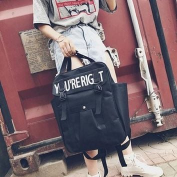 Student Backpack Children Harajuku Style Middle Student Letter Bookbag Female Concise Large Space Ruched Backpack Casual Bags For Men AT_49_3