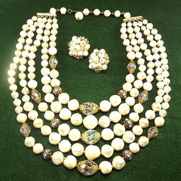 Rare High End Designer Vintage 1950s Signed Laguna Beautiful Beaded Crystal Glass & Rhinestones 5 Strand Necklace Earring Set  Mad Men Mod