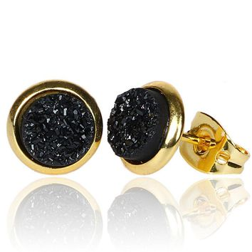Tiny 6mm Round 24k Gold Plated Natural Stone Druzy Stud Earrings Women