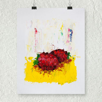 Raspberry Painting, Impasto Painting, Palette Knife Painting, Fruit Still Life Painting, Red Painting, Thick Painting, Art on Paper, Small