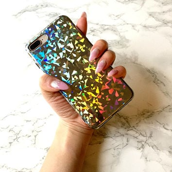 Holographic x Mermaid Chrome Reflective Sparkle Bling Glitter Case iPhone X 8 7 6s 6 Plus Silicone Case Holo Iridescent Sparkly Gift for Her