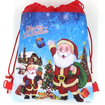 12Pcs Merry Christmas Boys Girls Cartoon Kids Drawstring Printed Backpack Shopping School Traveling Bags Party Birthday Gifts
