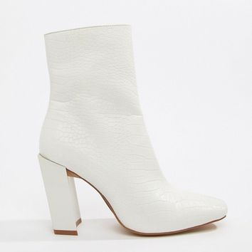 Missguided square toe boot in white faux croc at asos.com