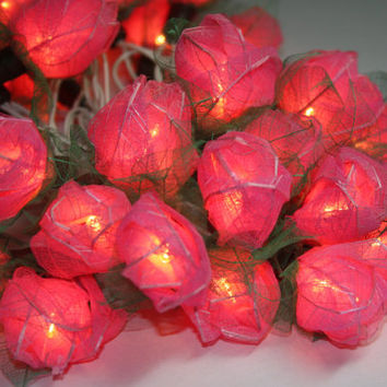 Fairy String Lights - 35 Pink Color Rose Party Floral Home Decoration,Indoor string lights Bedroom fairy lights