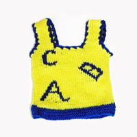 Knitted Yellow ABC baby vest 0 to 3 months
