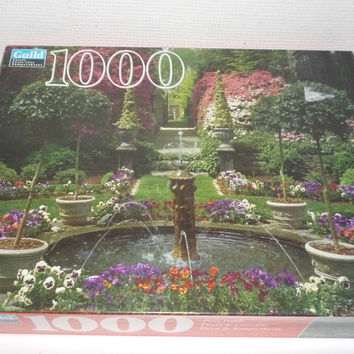 Fountain And Garden In Bloom 1000 Piece Jigsaw Puzzle