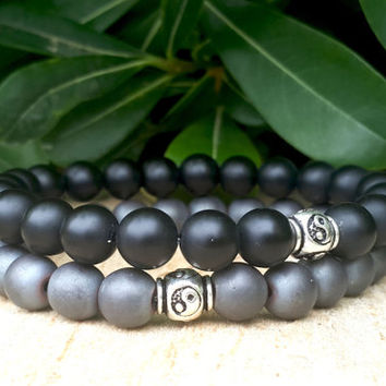 Ying Yang Mens Womens Couples Gemstone Bracelet, Yoga Bracelets, Mala Beads, Reiki Matt Black & Gray Onyx Bracelets, Positive Energy Balanc