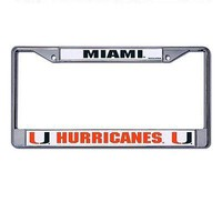 Miami Hurricanes Chrome Metal License Plate Frame