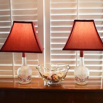Pair of Frosted Glass Table Bottle Lamps w/Red Fabric Shades
