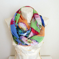 Colorful Scarf, Butterfly and Floral Print, Infinity Scarf, Soft, Women Accessories, Chiffon Scarf