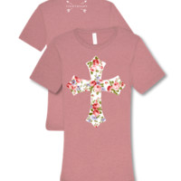 Southern Couture Lightheart Floral Cross Christian Triblend Front Print T-Shirt