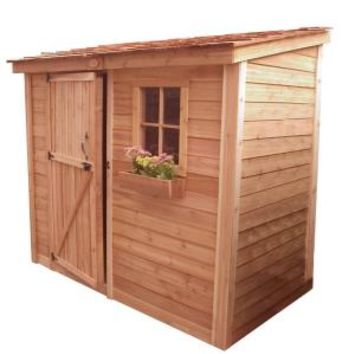 Outdoor Living Today, Spacesaver 8 ft. x 4 ft. Western Red Cedar Single Door Shed, SS84 at The Home Depot - Mobile