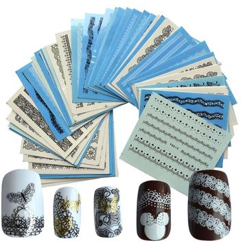 50pcs Nail Art Lace Designs Black/White Water Transfer Decals DIY Full Wraps Tools Nail Sticker for Manicure Salon NC180