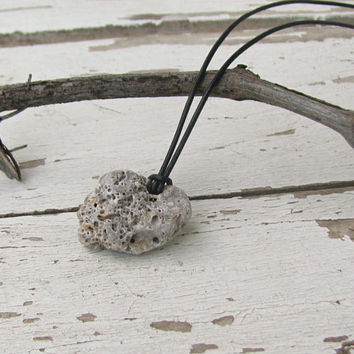 Boho Men Pendant, Natural Life, Climbing Jewelry, Leather Rock Necklace, Bohemian Beach Jewelry,  Surfer Gift, Rock Climbing Gift, Zen
