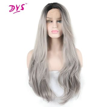 Deyngs Long Wavy Black Root Ombre Grey Lace Front Wig Synthetic Hair For Black Women Half Hand Tied With Natural Hairline
