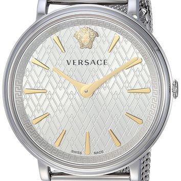 Versace Women's 'THE MANIFESTO EDITION' Quartz and Stainless-Steel-Plated Casual Watch, Color:Silver-Toned (Model: VBP050017)