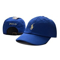 Unisex Blue POLO Sports Embroidered Baseball Cap Hat