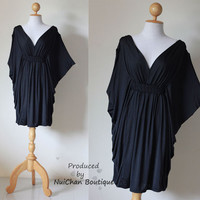 Black Butterfly Kaftan Blouse Casual Short Dress  by madoosika