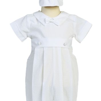 Seersucker Romper White Cotton Christening Outfit with Cap (Baby Boys Newborn - 18 months)