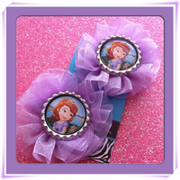 Sofia the first inspired organza flower hair clips