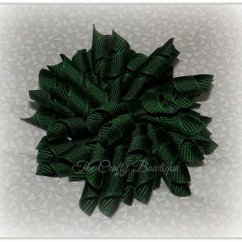 Forest Green Korker Bow ~ Forest Green Corkscrew Bow ~ School Uniform Bow ~ Cheer Bows ~ Christmas Korker Bows ~ Hunter Green Bows