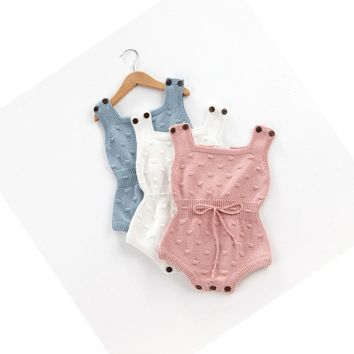 Unisex Boys Girls Cotton Knitted Overalls Jumpsuits Bib Pants Spring Summer Baby Rompers Fashion Climb Clothes for Kids 0-24M