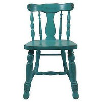 Pre-owned Teal Wooden Dining Accent Chair