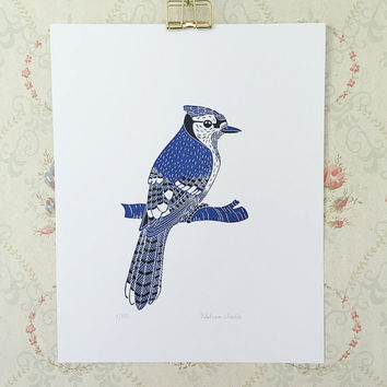 Blue Jay - handmade original of a bird, handprinted and handpainted