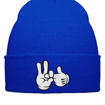 dope 1 to 2 finger in EMBROIDERY - Beanie Cuffed Knit Cap