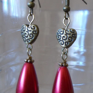 Handmade Engraved Bronze Heart, Colored Crystal & Large Bead Dangle Earrings, Sophisticated, Fashion Jewelry, Modern Elegance, Classic Style
