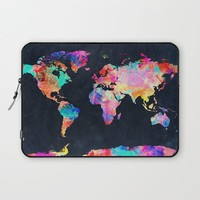 World map Laptop Sleeve by Bekim ART