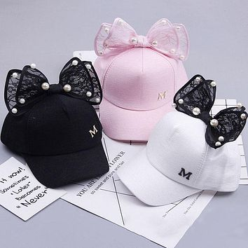 Children Baseball Cap Spring Summer Baby Rabbit Ear Pearl Big Bow Kids Sun Hat Girls Snapback Hip Hop Caps