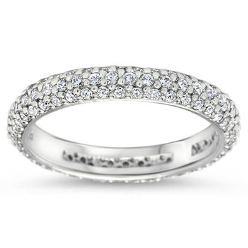 Three Row Diamond Pave Eternity Wedding Band - Pop