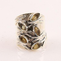 Citrine Fall Leaves Sterling Silver Band Ring
