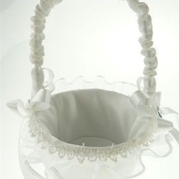 Satin Flower Girl Baskets Wedding Ceremony, 9-inch, Crochet & Lace Edge Basket, White, CLOSEOUT