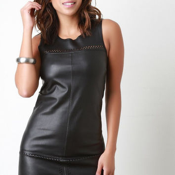 Vegan Leather Drop Waist Mini Dress