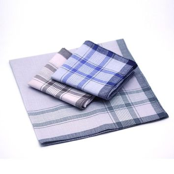 10Pcs Classic Vintage Plaid Stripe Handkerchief Hanky Men Pocket Squares 100% Cotton Business Casual Chest Towel Hankies Scarves
