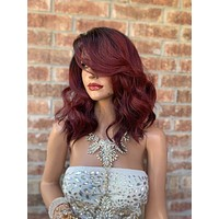 "Red Ombré Lace Front Wig 10""  819"