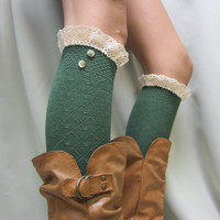 Back to School hunter green lace knee socks / Rock the schoolgirl look / Something flirty for tall boots  lightweight socks Catherine Cole