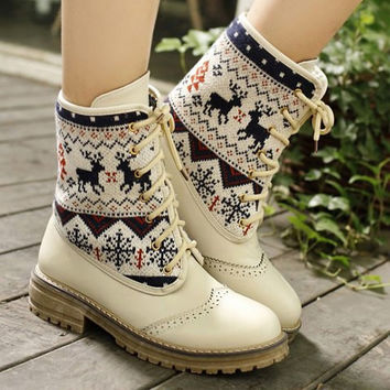 Animal Print Mid-Calf Knitted Boots