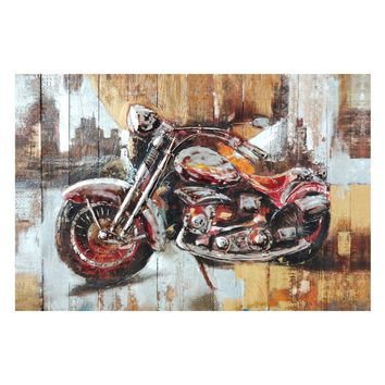 Motorcycle City Wall Decor Acrylic Painting Wood