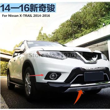 For Nissan x-trail 2014-2016 Front+ Rear Bumper Diffuser Bumpers Lip Protector Guard skid plate ABS Chrome finish 2PES
