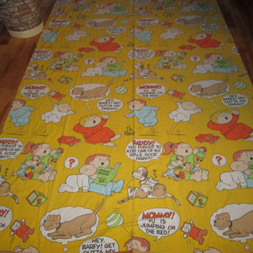 Vintage 70s Retro 80s FAMILY CIRCLE Bil Keane Top Flat Kids Bed Sheet Fabric