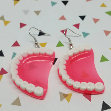 Handmade Faux Denture Dangle Earrings - Creepy Cute - Novelty Kitsch Teeth Jewelry