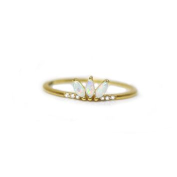 Opal & Diamond Twinkling Lotus Ring