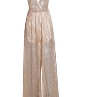 Honey Couture ALINA Gold 3D Crystal Effect Evening Gown Dress