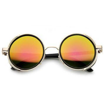e515ce3f8d737 Steampunk Retro Studio Cover Mirror Lens Round Sunglasses 9619