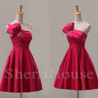 Beads One-shoulder Bowknot Strapless Empired Short Bridesmaid Celebrity dress ,Chameuse Evening Party Prom Dress Homecoming Dress