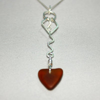 Sea glass Jewelry Amber Heart