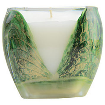 WREATH GREEN CASCADE CANDLE THE INSIDE OF THIS 4 inch GLASS CANDLE IS PAINTED WITH WAX TO CREATE SWIRLS OF GOLD AND RICH HUES. CANDLE IS FILLED WITH A TRANSLUCENT WAX AND SCENTED WITH FIR, BALSAM, PINE & CEDARWOOD. BURNS APPROX. 50 HRS UNISEX